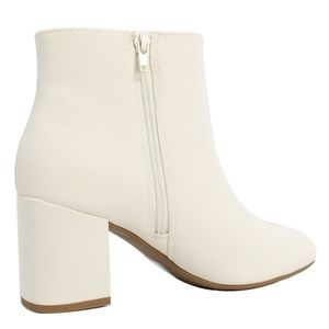 Shoes - White Faux Leather Mid Block Ankle Boot